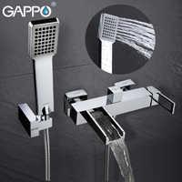 Gappo torneira da banheira banheira torneiras cachoeira torneira do chuveiro do banheiro banheira fixado na parede de bronze misturador do banho chuveiro