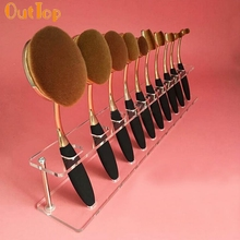 OutTop Love Beauty Female 10PCS Brush Storange Place Organizer Clear Acrylic 10 Lattices Cosmetic Display Shelf je17 Drop Ship