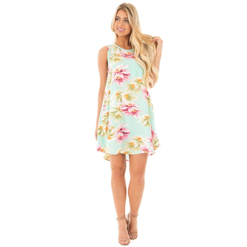 New Arrival Summer Women Floral Printed Sleeveless Off Shoulder Hollow Out Back Lace Up Casual  Mini A-line Beach Dress