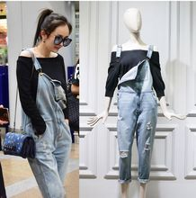 2016 New Chic Street Style Square neck slant pocket Shredded holes distressed front legs Overall