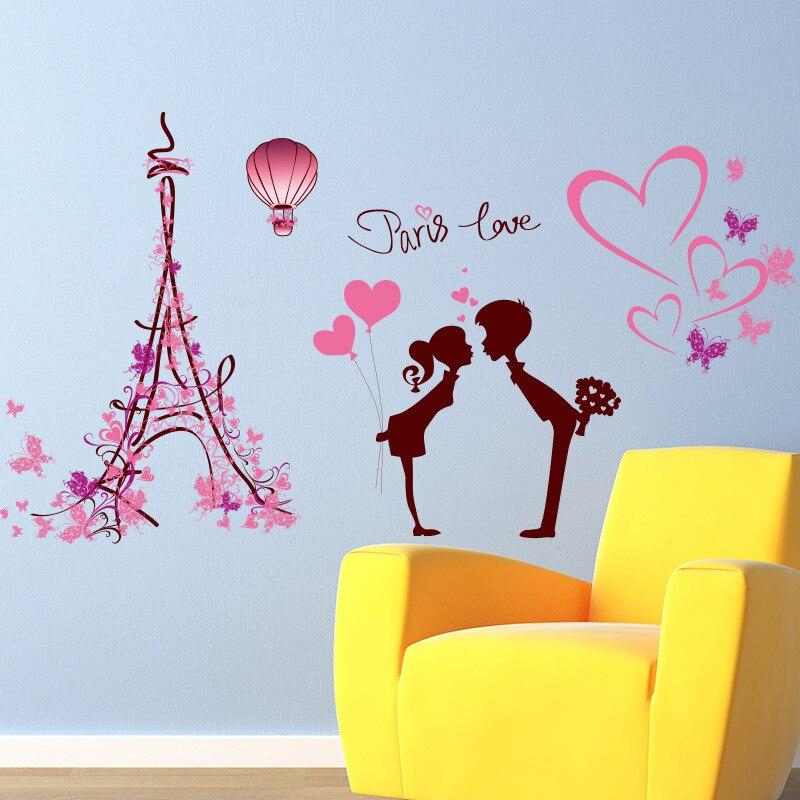 Keythemelife 1 Pcs Removable Paris Love Wall Sticker Creative Wall Art DIY Cartoon Eiffel Tower Home Decor CA-in Wall Stickers from Home u0026 Garden on ...  sc 1 st  AliExpress.com & Keythemelife 1 Pcs Removable Paris Love Wall Sticker Creative Wall ...