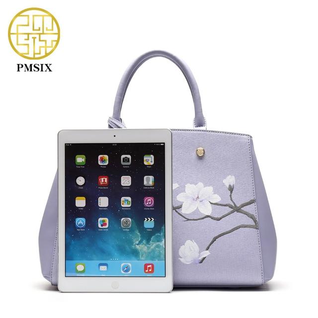 Pmsix Flower Printing Women Leather Bag Cattle Split Leather Light Purple Retro Vintage Shoulder Bags Designer Handbag P120032