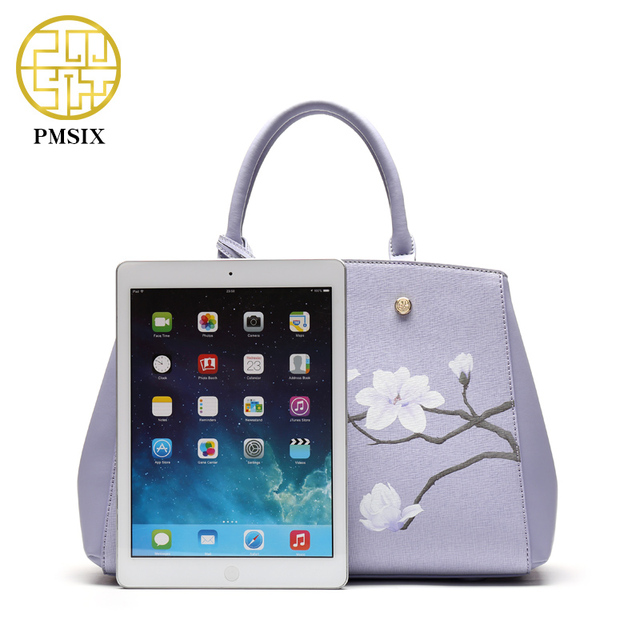 Pmsix Flower Printing Women Leather Bag Cattle Split Leather Light Purple Retro Vintage Shoulder Bags Designer Handbag P120032