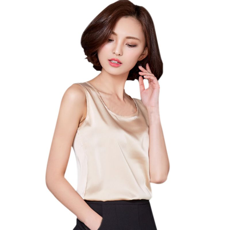 New Arrival 6 Color Candy Colors Tops Vest 2018 Women Summer Sleeveless Short Tank Tops Imitated Silk Tank Top Women Clothes