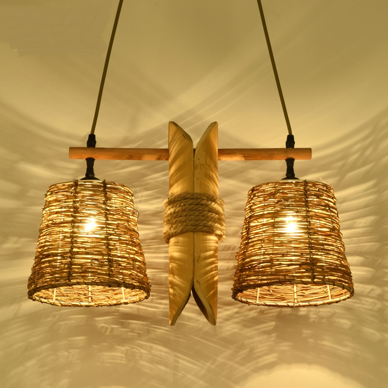 Bamboo woode pendant lights rural Chinese style garden bedroom living room dining study teahouse light retro pendant lamps ZA chinese style iron lantern pendant lamps living room lamp tea room art dining lamp lanterns pendant lights za6284 zl36 ym