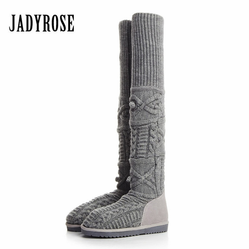 Jady Rose Women Knitting Thigh High Boots Elastic Over The Knee Boots Female Slim Fit Sock Long Botas Winter Flat Snow Boots the explosion of the classic all match solid colored body hip high elastic denim pants feet female winter bag mail