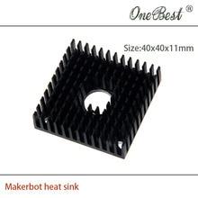 10Pcs/lot 40x40x11mm heatsink For MK7/MK8 3D printer extruder heat sink Makerbot Fitting Aluminum Anode Black Free shipping