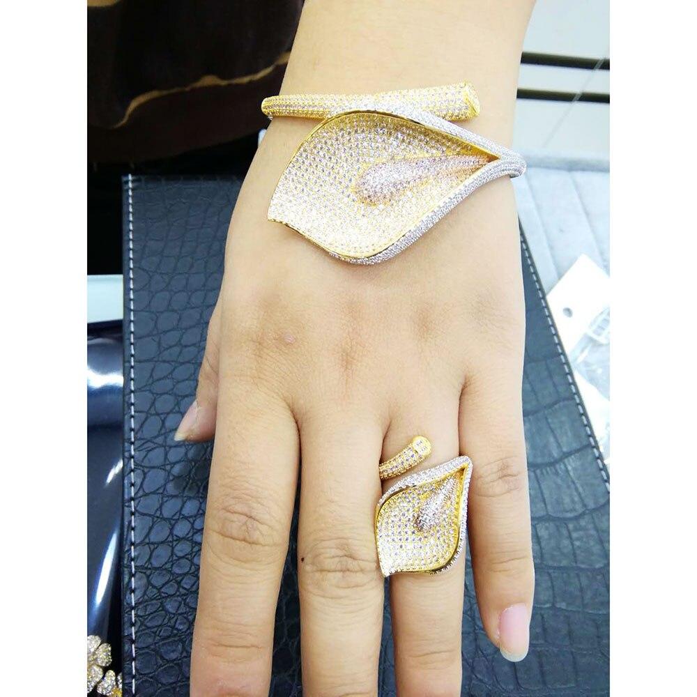 GODKI Lily Flowers Leaf Luxury Full Micro AAA Cubic Zirconia Geometry Design Women Bracelet Bangle Ring