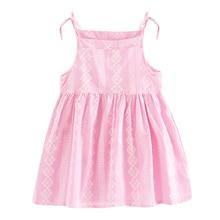Детские наряды принцессы Платье для маленьких девочек трапециевидной формы с кружевным принтом без рукавов Дети ремень из хлопка и льна летнее платье