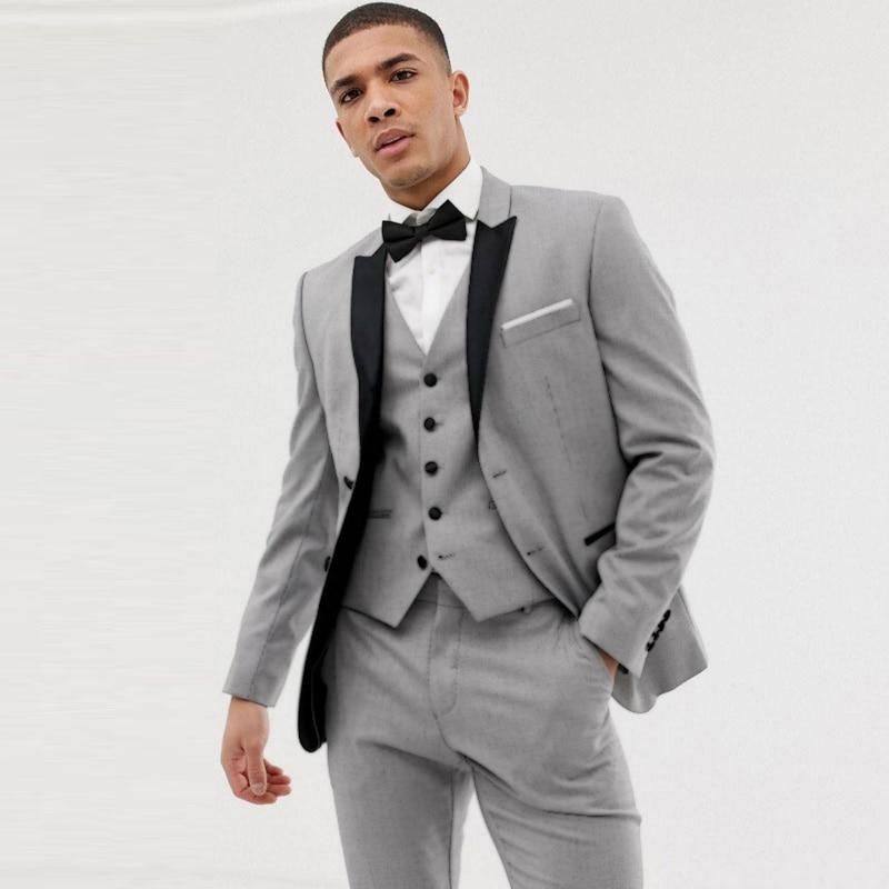 Grey Men Suits For Wedding 2019 Groom Tuxedos Black Peaked Lapel Slim Fit Terno Masculino Best Man Blazer 3Piece Costume Homme