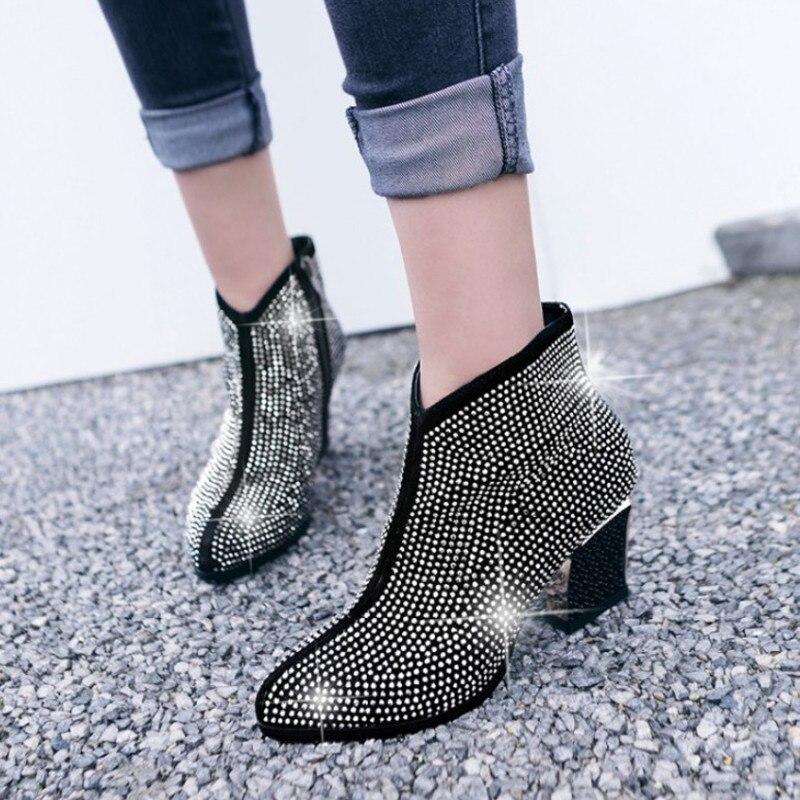 Marque Strass Cheville Bottes Pour Femmes Hauts Talons En Daim Femmes Haute Bottes D'hiver Chaussures Femmes Confortables Bottes Haute Quanlity