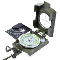 Prismatic Water Resistant Luminous Compass With Pouch Military Army Travel Geology Equipment Pointing Guide For Camping