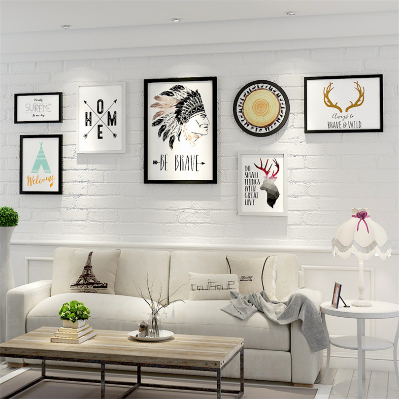 7 шт./компл. современный Стиль черный, белый цвет деревянная рамка для фотографий настенные набор фоторамок украшения дома Винтаж Frame Porta Retrato