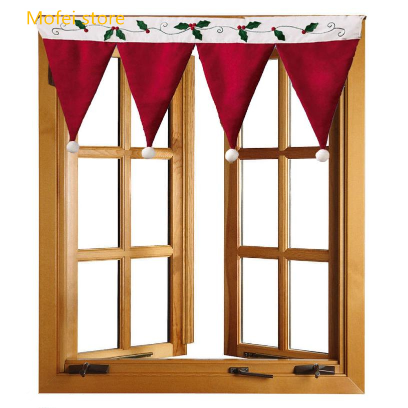 Creative Red Hat Shape Curtain Christmas Decorative Curtains For Window Kitchen Cabinet Door