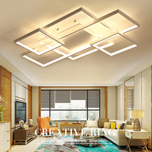 купить Rectangle Coffee/White Color Modern Led ceiling lights for living room bedroom Home deco Dimmable+RC Ceiling lamp fixtures по цене 5519.87 рублей