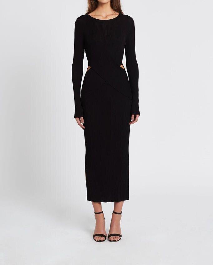 Femmes 2009 Out Match black Basant Mode Tous Beige Robe Robes Nouvelle Creux Getsring Tricoté Longues Les Mince À Printemps Manches dZxAdO0