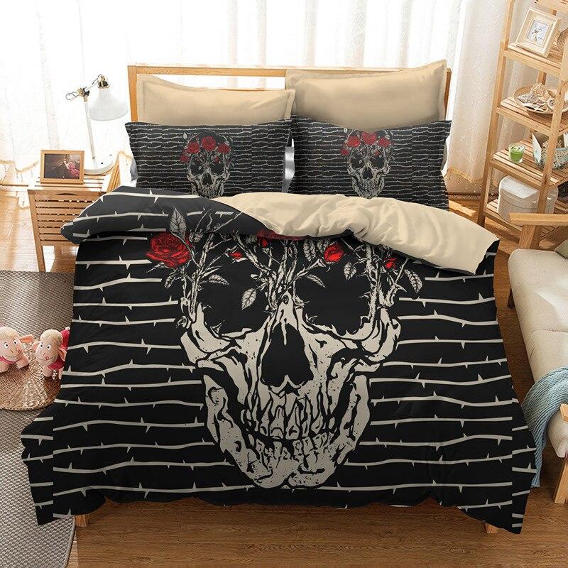 Fanaijia rose skull duvet cover set 3d sugar Skull Bedding ...