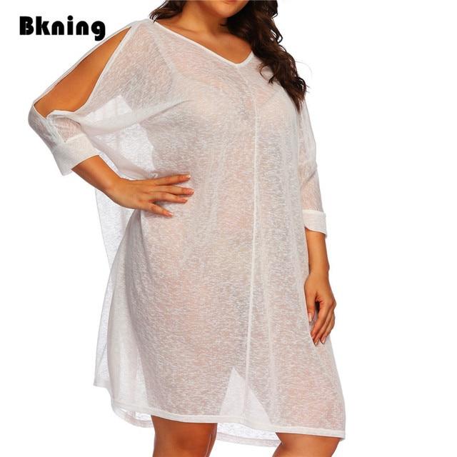 238cfa95a19 Plus Size Women Swimsuit Cover Up 2018 White Sheer Swim Dress Beach Chiffon  Beachwear Kaftan Swimwear Cover Ups Sleeve Big XXL