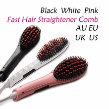 100-240V Hot Electric Fast Hair Straightener Combs Brush LCD Flat Iron Electric Hair Profesional Straightening Comb chapinha