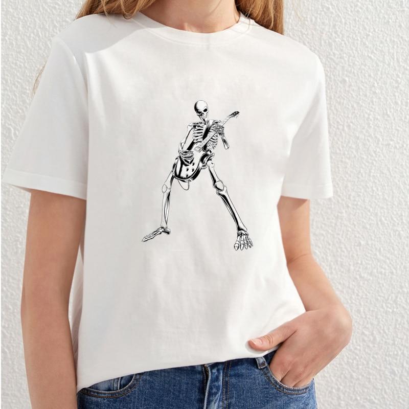 2018 Vacker Skull Utskrift T-shirt Kvinnor Fashion Streetwear T-shirt - Damkläder - Foto 6