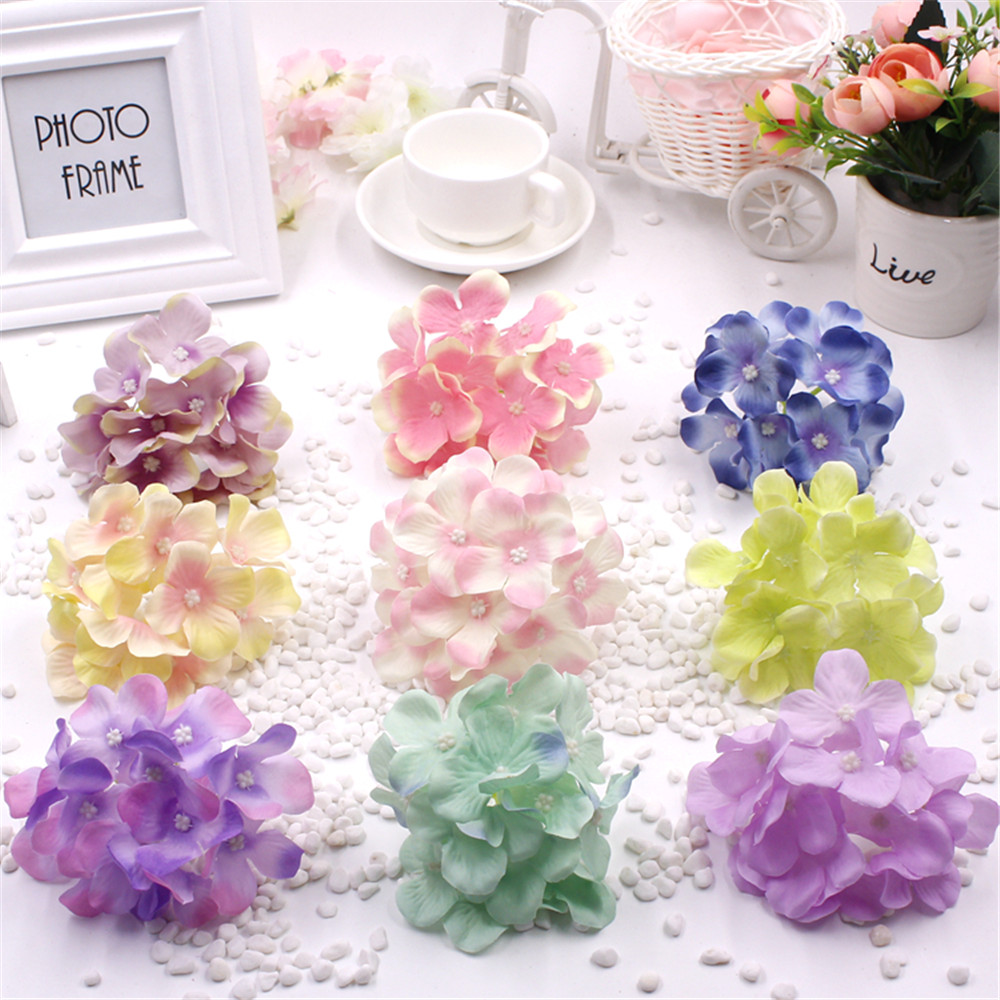new 1pcs  Artificial Simulation Hydrangea Flower Head for DIY Bride Bridesmaids Wrist Flowers Wedding Decoration