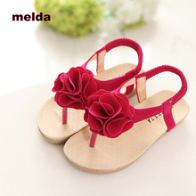 2017 New Summer Girls Sandals Kids Kids Shoes Fashion Princess Girls Flower Shoes Beach Children Shoes Flat Heels Flip Flops
