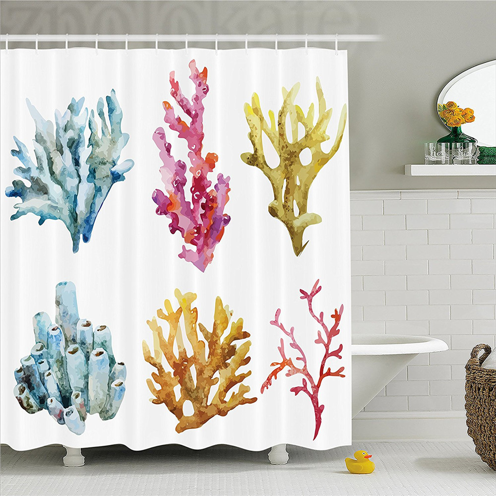Nautical Decor Shower Curtain Colony Group of Corals in Tropical Ocean Island Leisure Plant Animals Art Print Bathroom Decor Set