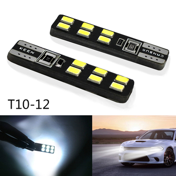 2PCS Signal Lamp 600LM 12V Bright White 5000K 2835 SMD T10 12 led bulb 194 168 W5W Car Side Wedge Head Tail Light Bulb Assembly image