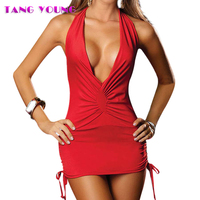 TANG YOUNG Sexy Spandex Red Nightgown Sleepwear Women Solid Deep V Neck Short Night Gowns Ladies