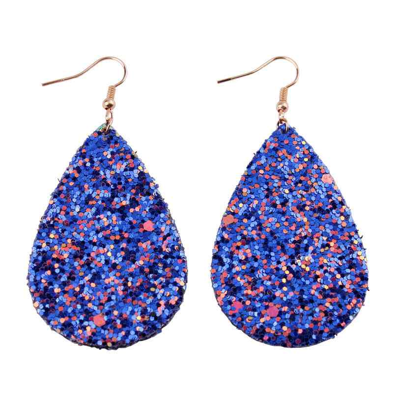 2018 Glitter Sequins Teardrop Leather Earrings for Women Looking Various MultiColors Statement Leather Dangle Earrings Wholesale