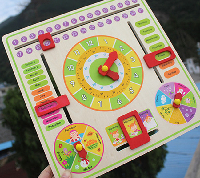 New wooden toy Children educational toys Clock siding  Baby toy Free shipping