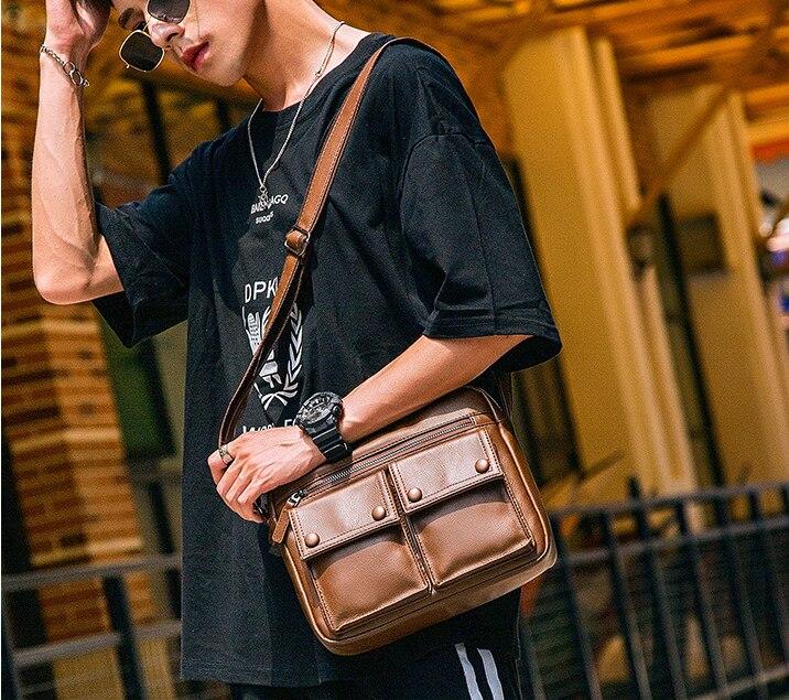 Vintage Men PU Leather Briefcase Exquisite Shoulder Business Bag Gentle Mens Multifuntion Commuter Bags Bolso Hombre D819