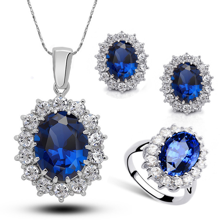 CBO29 Round Blue Crystal Ring Set Lady Crystal Necklace Stud Earrings Set