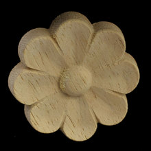 4/5/6CM Retro Floral Wood Appliques Carved Vintage Home Decor Round Accessories Modern Decals Furniture