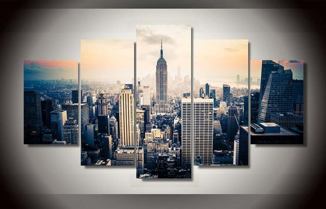 5 pieces canvas prints new york city vintage painting wall art home decor panels poster for