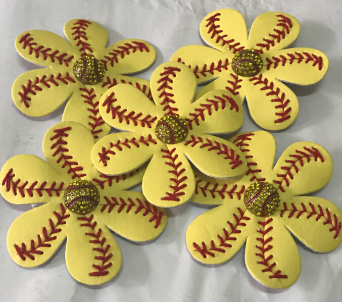 7379f6cf3cec2 NEW Leather Softball Baseball Stitch Flower Clip Perfect for Flip Flops