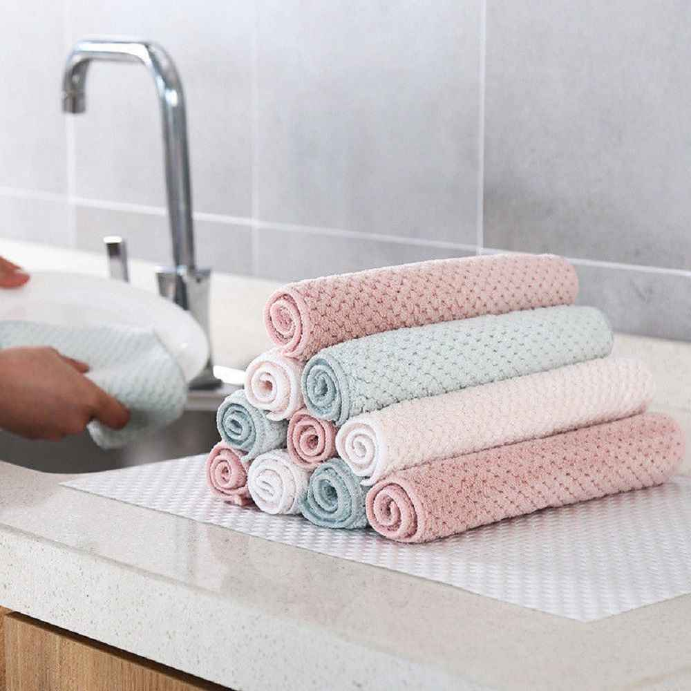 Utility Trendy Home Kitchen Towel Super Absorbent Clean Cloth Sink Wipe Coral Fleece Cleaning Towels Household Cleaning Tools