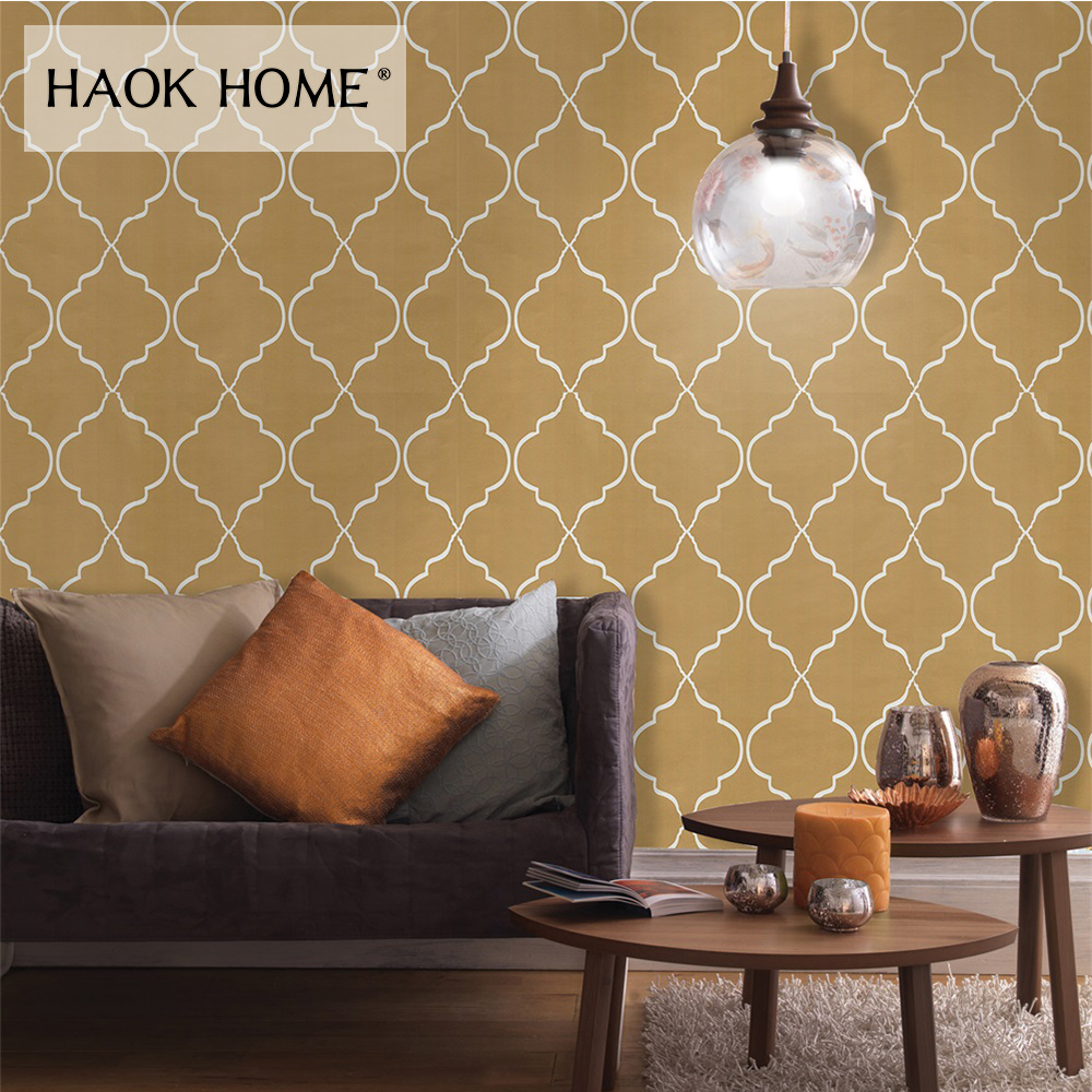 Haokhome Modern Geometric Wallpaper Peel And Stick Yellow Gold Self Adhesive Contact Paper For Living Room Kitchen Decor Wallpapers Aliexpress