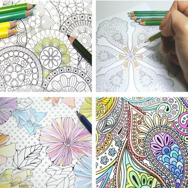 4 Verschiedene Modelle/Charge Seite 24 Blume Mandala Malbuch für ...