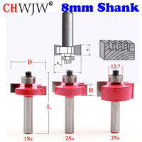 6pcs Set High Quality T Type Bit With Bearing 8mm Shank Dovetail Router Bit Cutter Wood
