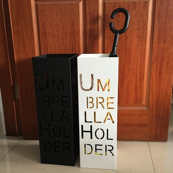 Creative vintage metal iron craft art alphabet umbrella stand holder rack storage bucket black white barrel home hotel lobby