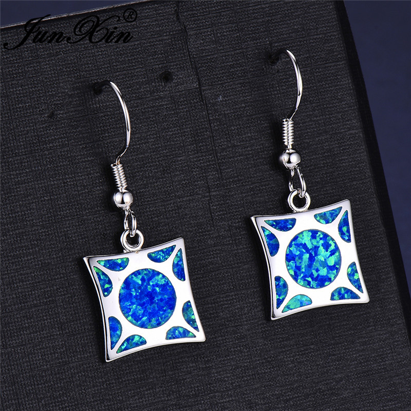 JUNXIN Christmas Jewelry Square Stone Blue Fire Opal Drop Earrings For Women White Gold Filled Rainbow Birthstone Earrings