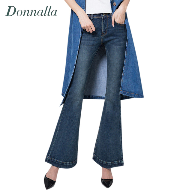 Women Pants Spring Fall Plus Size Women Bell Bottoms Jeans Women Flare Pants White Blue Solid Wide Leg Denim Trousers Women