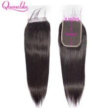 خصلات شعر طبيعي من Queenlike موديل 4*6 شعر طبيعي برازيلي من الشعر الريمي الطبيعي 4x6 بقفل من الدانتيل