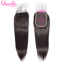 Queenlike straight 4*6 Kim K Closure Pre Plucked With Baby Hair Natural Hairline Brazilian Remy Human Hair 4x6 Lace Closure