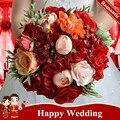 Рамос Де Novia Рохо 2016 Красная Роза Букеты Искусственные Свадебные Букеты Для Невесты Старинные Кристалл Свадебные Цветы Свадебные Букеты