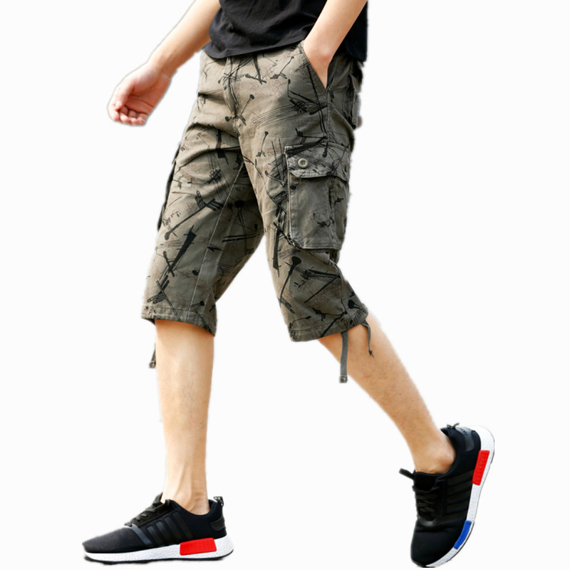 New 2018 Men Cargo Shorts Casual Loose Short Pants Camouflage Military Summer Style Knee Length Plus Size Shorts Male