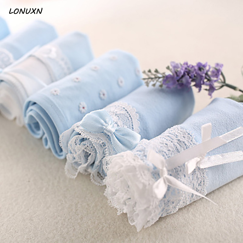 High quality 6 pieces/lot Sexy comfortable Cotton underwear gift box Cute ladies triangle underwear Bowknot Lace Panties girls
