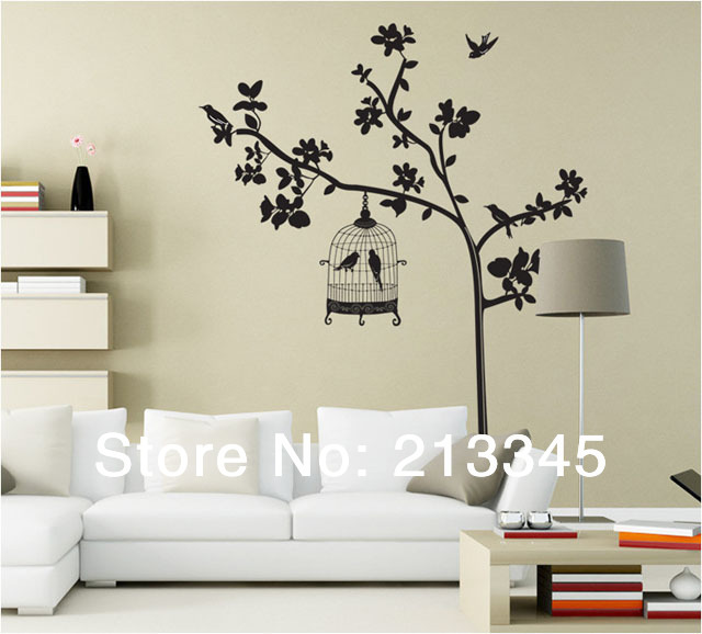 Fundecor large size removable home wall deco plants for Big tree with bird wall decal deco art sticker mural