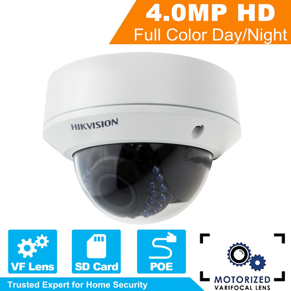 Hikvision PoE IP Camera DS-2CD2742FWD-IZS Audio 4MP WDR Motorized Vari-focal Motorized Lens Dome Network IP Camera IK10 hikvision 4mp ip camera ds 2cd1641fwd i 4mp vari focal network camera hd 1080p real time video ir bullet poe cctv camera